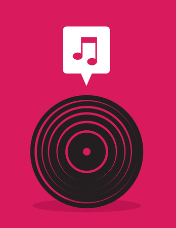 Vinyl record icon with music note bubble