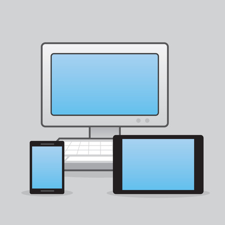 Computer phone and tablet together Illustration
