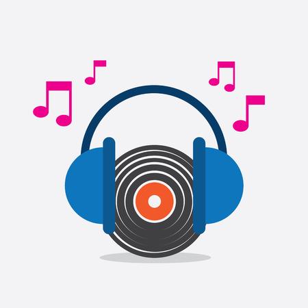 Vinyl record with headphones music notes 向量圖像