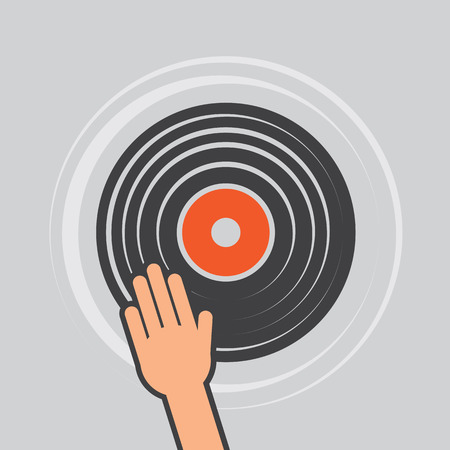and scratching: Vinyl record with hand scratching dj