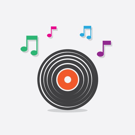 Vinyl record icon with music notes