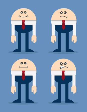 busy person: Round businessman with different facial expressions