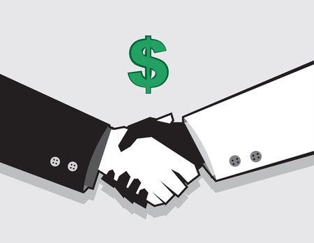 blocky: Handshake deal with dollar sign
