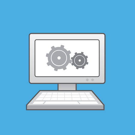 Computer with gears shown on monitor Illustration