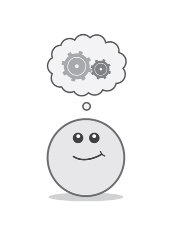 Round face with thinking gears thought bubble Illustration