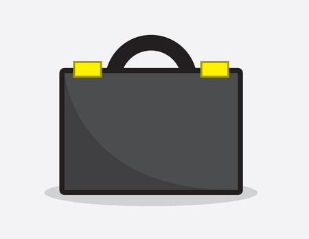 lock symbol: Black business briefcase icon illustration Illustration