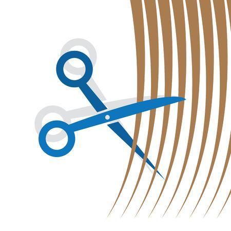 Scissors cutting strands of hair