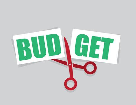 Budget word cut in half by scissors