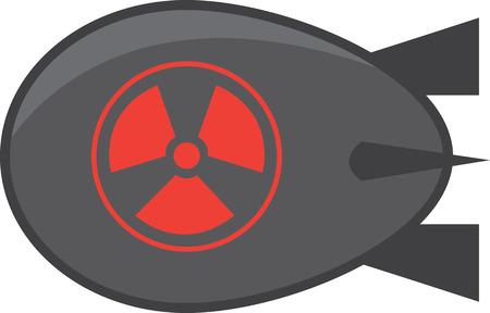 bombe atomique: Bombe atomique gris foncé isolé
