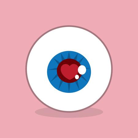 Eyeball with heart inside iris 向量圖像