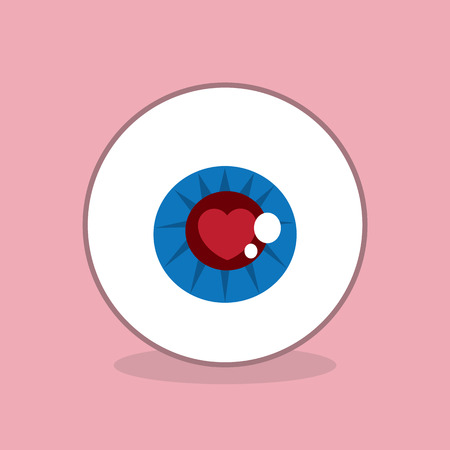 Eyeball with heart inside iris Illustration