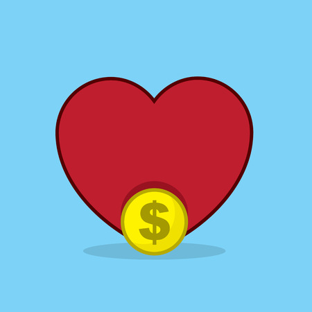 greedy: Large heart with coin in front Illustration