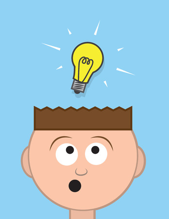 smart kid: Head with floating light bulb idea