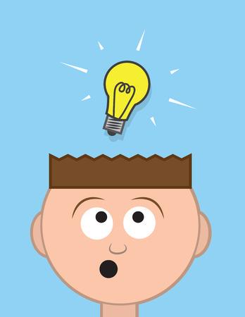Head with floating light bulb idea