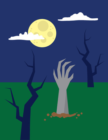 Zombie hand reaching out from the ground Illustration