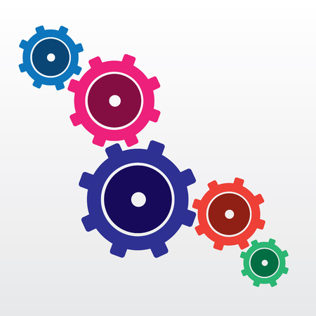 robotic transmission: Gears connected in multiple colors Illustration