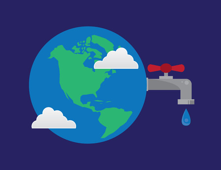 wasteful: Earth with connected water faucet droplet