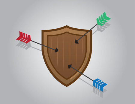 Wooden shield blocking multiple arrows