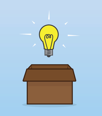 outside box: Light bulb hovering outside of box