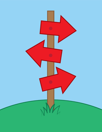 Multiple arrows sign post in grass