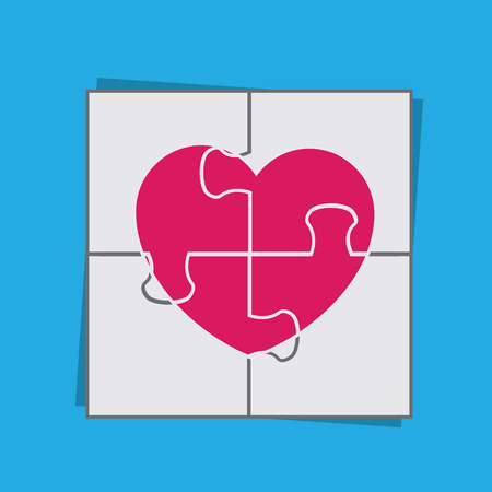 Puzzle piecing together large heart 向量圖像