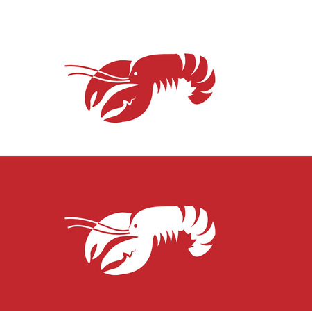 Red lobster on white and red background Illustration