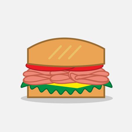deli: Deli sandwich with meat and lettuce