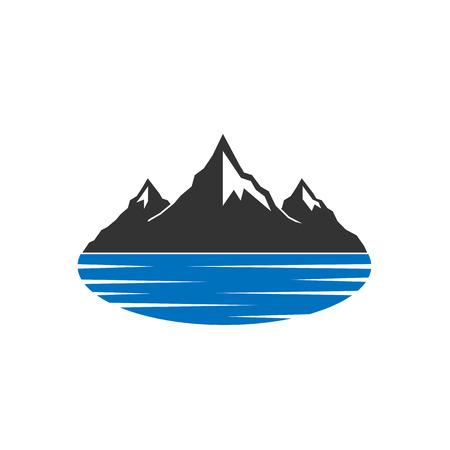 Mountains behind blue lake icon