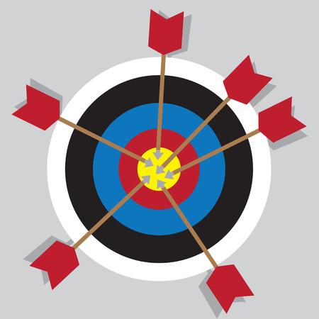 Bullseye with multiple arrows in center 向量圖像