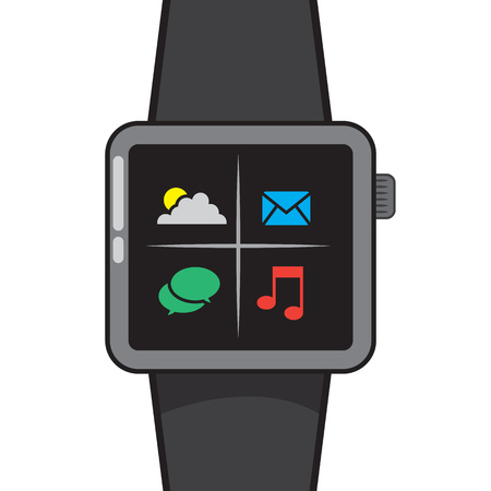 Isolated smart watch with various icons