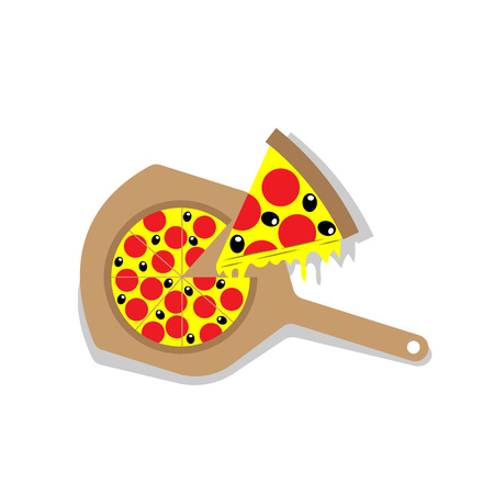 Pizza with wooden paddle and slice
