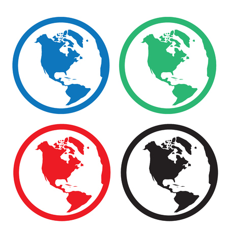 Globe icon in various colors