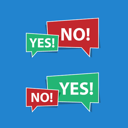 Yes and no speech bubbles in red and green Illustration