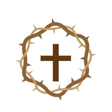 Cross surrounded by wooden crown 向量圖像