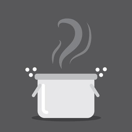 Cooking pot with steam and bubbles Illustration