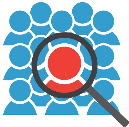 Group icon with magnifying glass on center figure