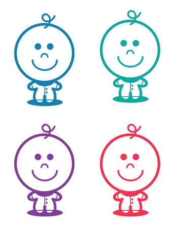 Outlined baby illustration standing in various colors