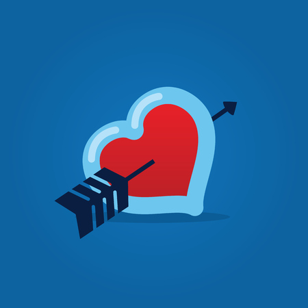 Heart with arrow through it blue background