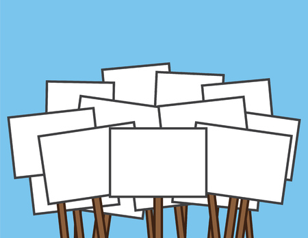 Large blank white protest signs Illustration