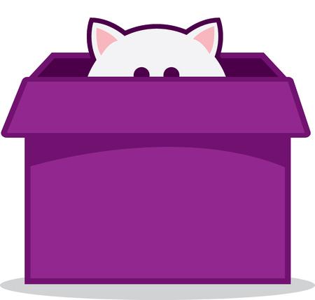 Cat peeking out of purple box
