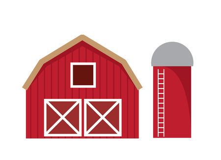 Red barn isolated with silo