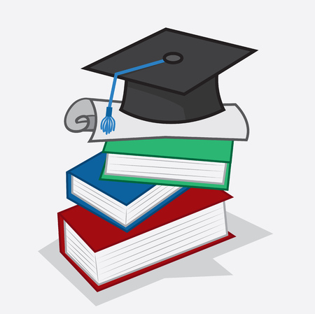 Diploma and graduation cap sitting on top of books