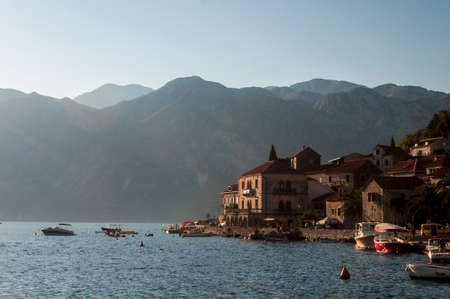 View on the Perast, Montenegro at the summer sunset.