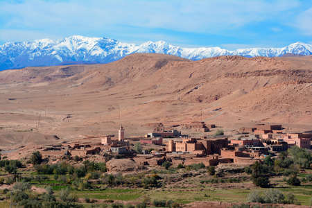 Small village in Atlas mountains in summer.