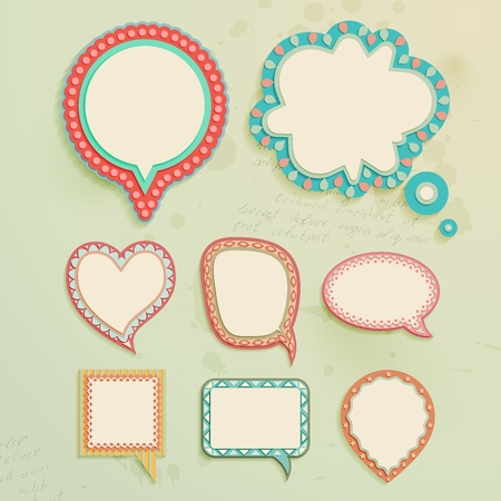 Vintage paper bubbles for speech. Vector illustration.