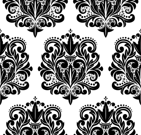 Beautiful vector seamless damask pattern.