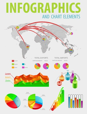 Infographic set with colorful charts. Vector illustration.