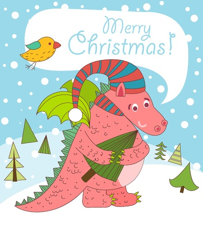 Christmas greeting card with dragon. 2012 year. Vector