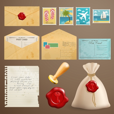 airmail: Vintage postcards with post stamps and other elements.
