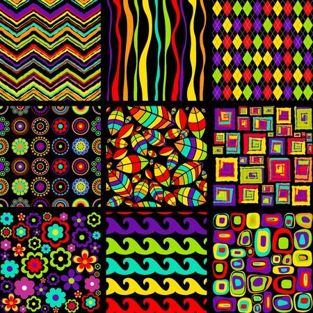 Vector set of stylish seamless patterns.